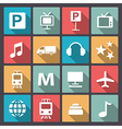 transport and entertainment icons in flat design vector image vector image