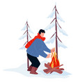 winter camping and traveling warm bonfire vector image vector image