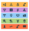 work icons set with shared folder online team vector image
