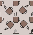 coffee cup pattern black seamless vector image
