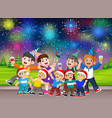 a family celebrating the christmas and new year vector image