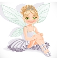 Beautiful fairy girl in white dress sit on floor vector image vector image