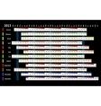 Black linear calendar 2013 vector image