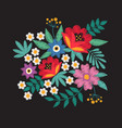 bouquet of garden flowers floral embroidery vector image