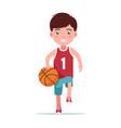 boy basketball player runs with ball vector image vector image
