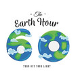 card for earth hour - global annual international vector image vector image