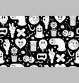 cartoon characters background seamless pattern vector image