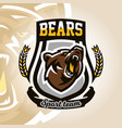 colorful logo emblem growling bear grizzly vector image vector image