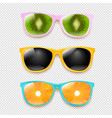 colorful sunglasses set isolated transparent vector image vector image