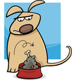 dog and nasty food cartoon vector image