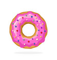donut with pink glaze and colored sugar dragees vector image
