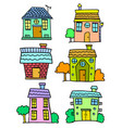 doodle of house set colorful hand draw vector image vector image