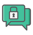 encrypted messaging colorful line icon security