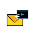 envelope mail with media player video vector image vector image
