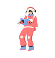 female astronaut reading book and flying in zero vector image