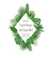 figured rhombus frame with tropical leaves vector image