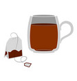 glass mug with tea a bag tea next to me vector image vector image