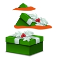 Green gift box with Holly berry decoration vector image