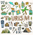 hand draw travel icons set summer holiday vector image vector image
