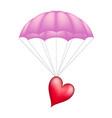 heart at pink parachute vector image