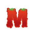letter m strawberry font red berry lettering vector image vector image