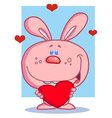 Loving Pink Bunny Holding A Heart vector image vector image