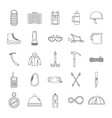 mountaineering equipment icons set outline style vector image vector image