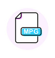 mpg file format extension color line icon vector image vector image