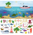 nautical navy boats marine ocean sea animals vector image