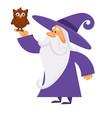 owl bird on hand wizard making magic isolated vector image