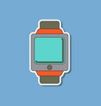paper sticker on background of digital watch vector image vector image