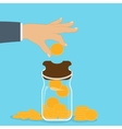 Piggy bank with falling gold coins - Contribution vector image vector image