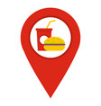red map pointer with fast food sign icon isolated vector image vector image