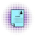 Resume icon comics style vector image vector image