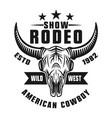 rodeo show emblem or apparel design vector image vector image