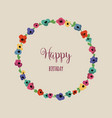 round floral frame cute colorful flowers vector image vector image