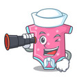 sailor with binocular cartoon baby clothes for the vector image
