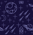 seamless pattern outline space icon planet vector image vector image