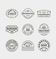 set burger logos retro styled fast food vector image vector image