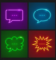 set of message clouds neon vector image vector image