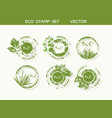set organic and farm fresh food badges and vector image