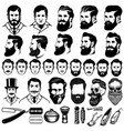 set vintage barber monochrome icons men vector image
