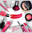sets of cosmetics on gray background vector image vector image