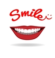 Smiling mouth with beautiful healthy teeth vector image vector image