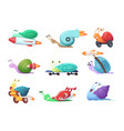 snails cartoon characters slow sea slug or vector image vector image