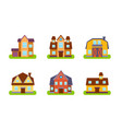 suburban residential houses and cottages set real vector image vector image