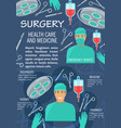 surgery medicine poster with doctor and instrument vector image
