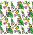 tropical summer semaless pattern cartoon vector image vector image