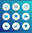 user icons colored set with stabilizer display vector image
