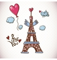 vintage card with eiffel tower and heart vector image